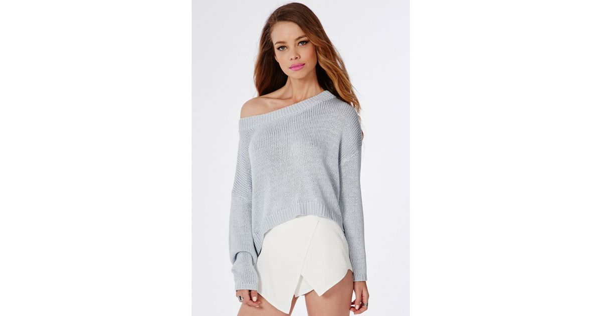 4abf2b1a4 Lyst - Missguided Slouch Off Shoulder Knitted Crop Sweater Pale Blue ...