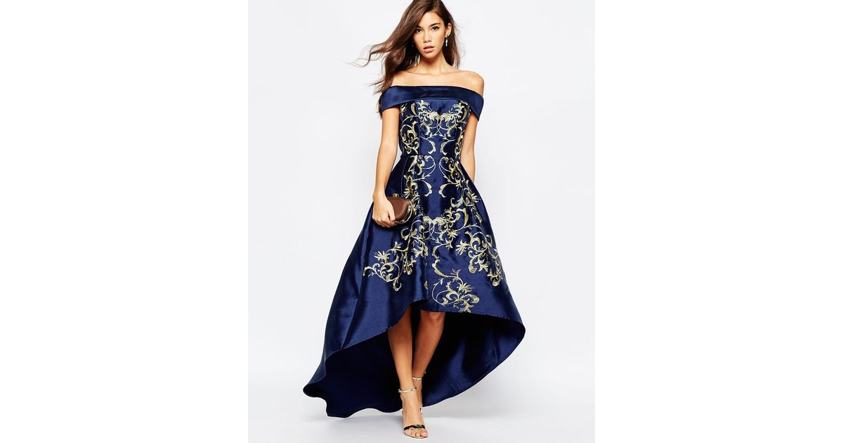 015b5febb4e Chi Chi London Blue Off Shoulder High Low Dress With Baroque Embroidery