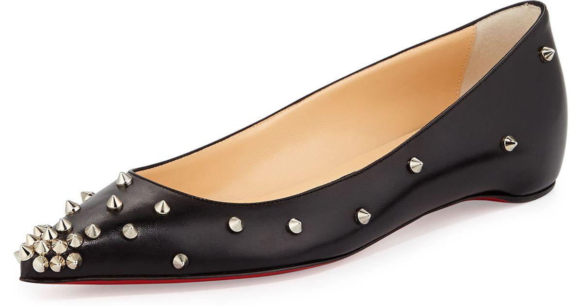 cc1df054be1 Christian Louboutin Black Degraspike Studded Pointed-Toe Flats