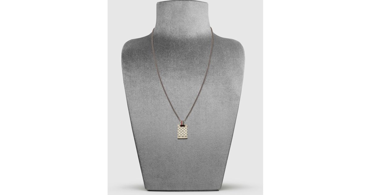 Lyst gucci necklace with diamante pattern engraved pendant in lyst gucci necklace with diamante pattern engraved pendant in metallic for men aloadofball Images