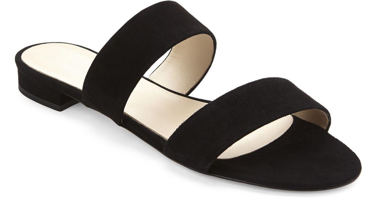 9660bfe8f676b Lyst - Gabriella Black Two-Strap Flat Sandals in Black