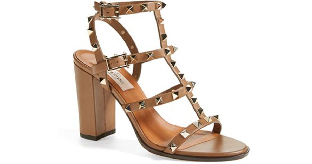 00f75970598 Lyst - Valentino  rockstud  T-strap Sandal in Brown