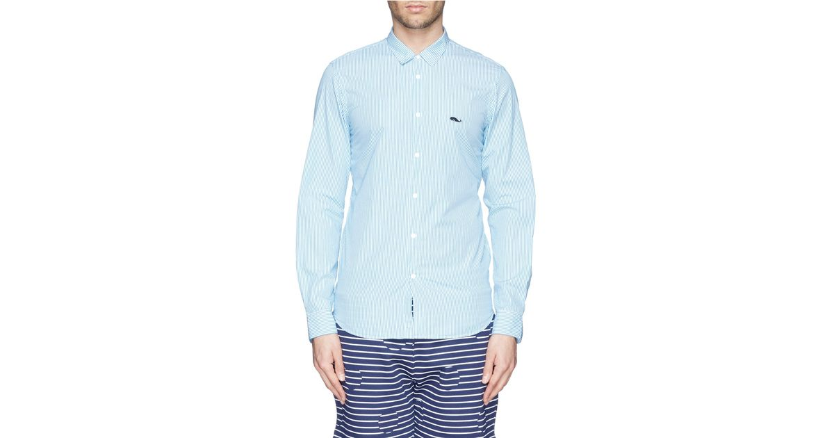 Mauro grifoni whale logo stripe shirt in blue for men lyst for Whale emblem on shirt