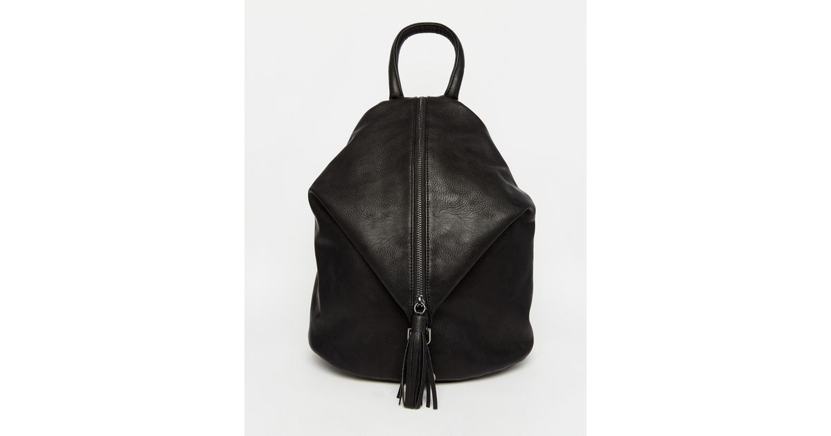 Asos Front Zip Backpack With Dog Clip And Tassel in Black | Lyst