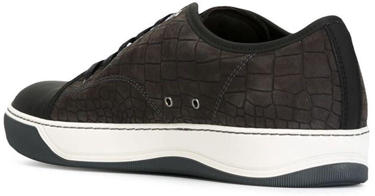 80d7092a0d Lanvin Gray Crocodile-Effect Leather Sneakers for men