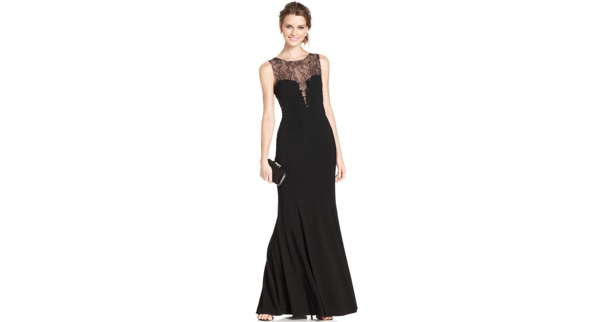 Lyst - Xscape Sleeveless Beaded Illusion Lace Gown in Black