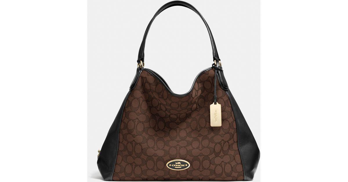 Lyst - COACH Edie Shoulder Bag In Signature Jacquard in Brown 3e33b5125200e