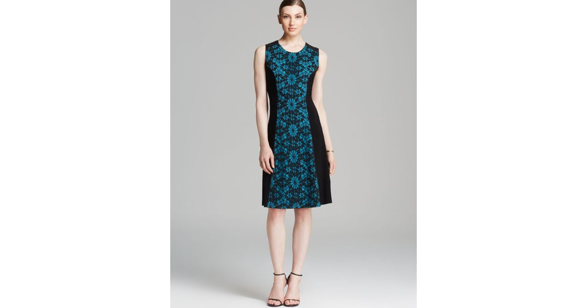 Anne Klein Dress Sleeveless Lace Inset Fit And Flare In