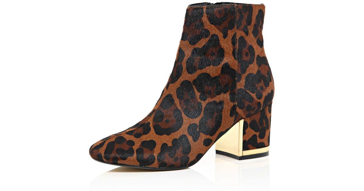 Brown Leopard Print Block Heel Boots - Lyst