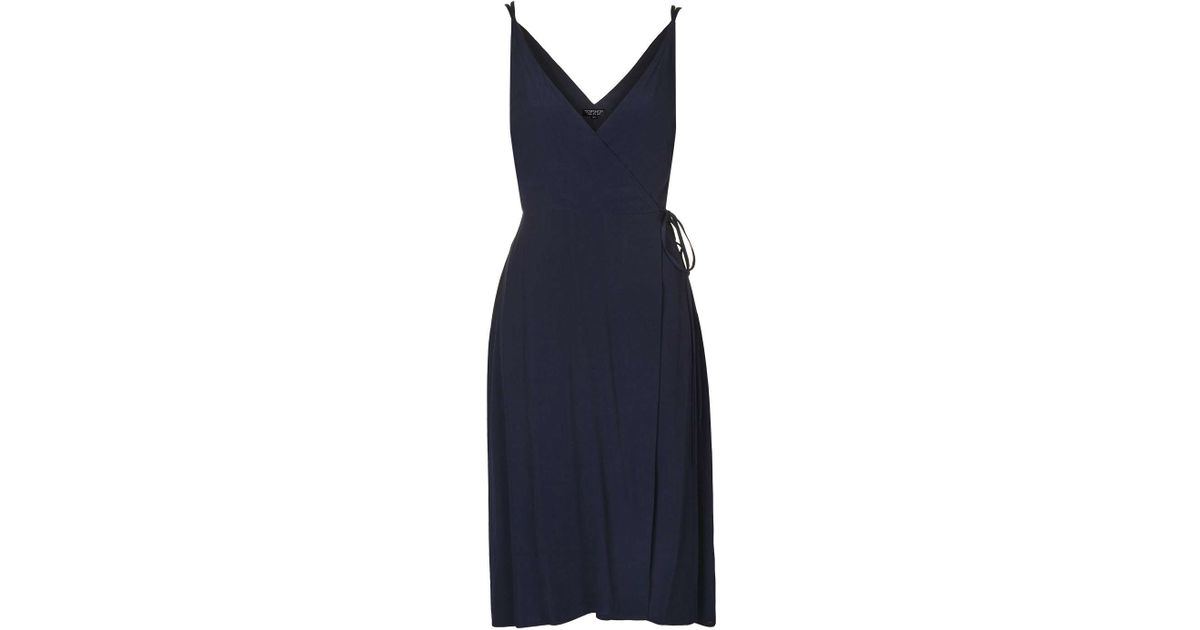 Lyst Topshop Wrap Midi Slip Dress In Blue