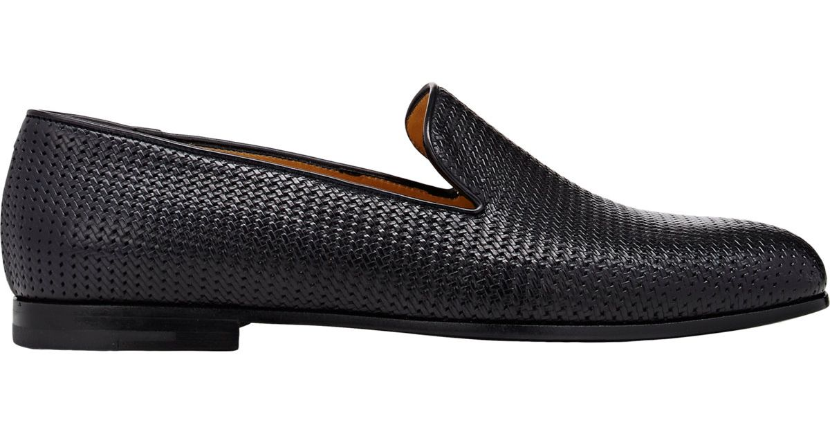 cb5d4cac182 Lyst - Giorgio Armani Woven Leather Venetian Loafers in Blue for Men