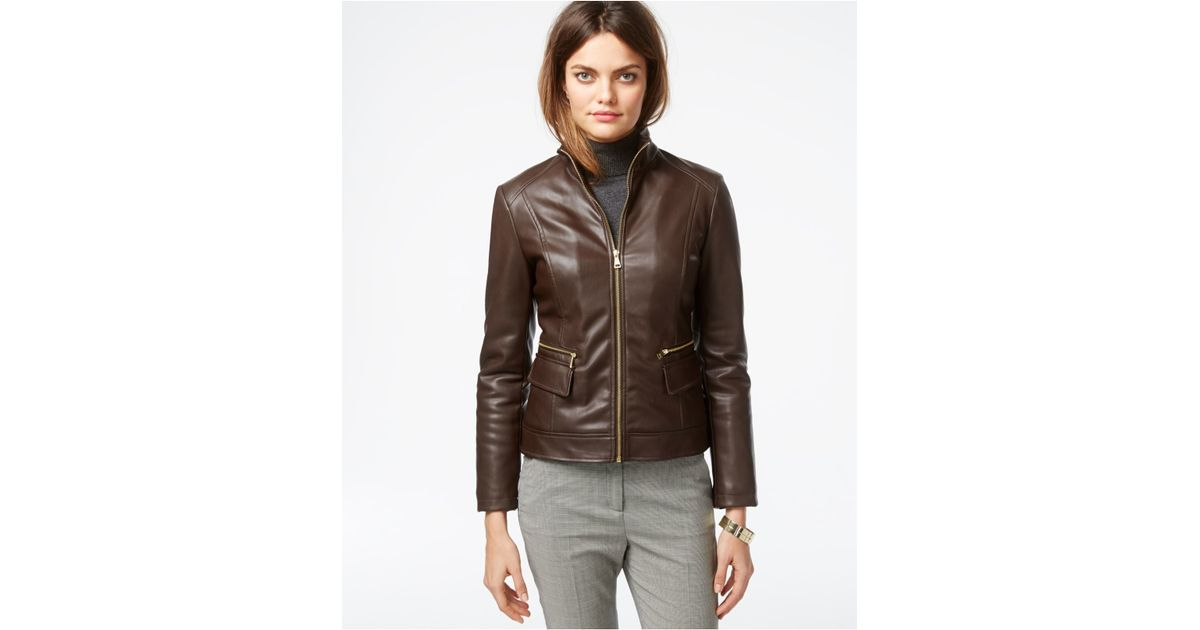 Lyst Cole Haan Leather Flap Pocket Jacket In Brown