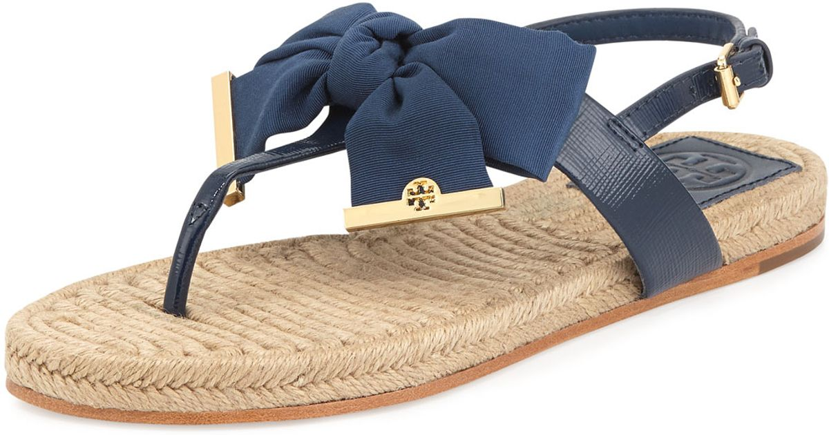 0781daac86f5 ... store lyst tory burch penny flat bow espadrille thong sandals newport  navy in blue d21d6 f3a86