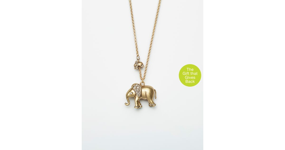 necklace d gold yellow elephant a cut pendant