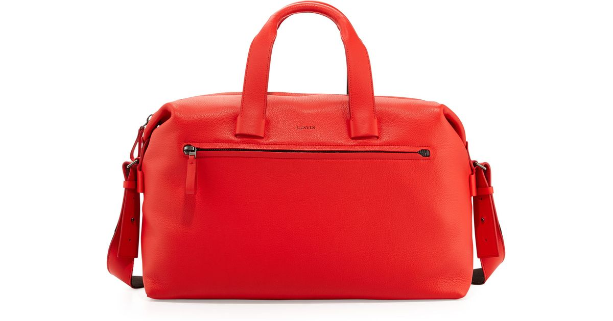 2aa1671414f7 Lyst - Lanvin Pebbled Leather Duffel Bag Red in Red for Men