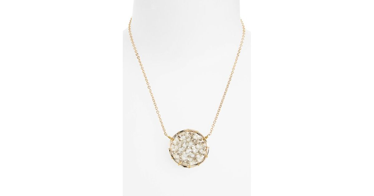 Lyst - Panacea Crystal Circle Pendant Necklace in Metallic d5a351b1f