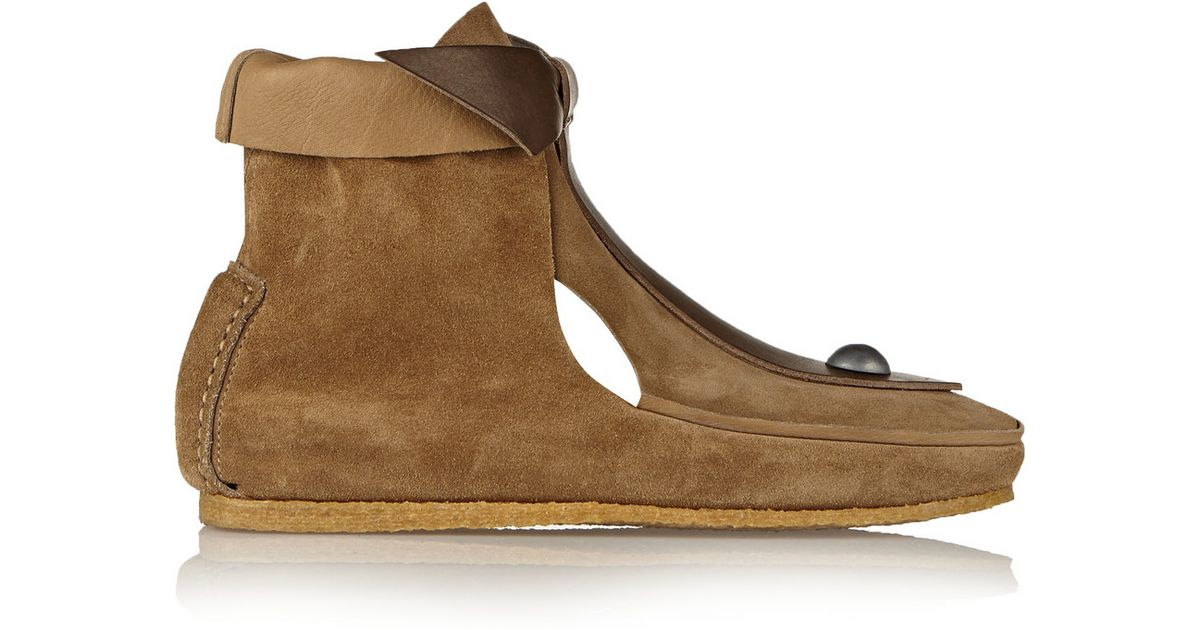 marant studded leather and suede boots in brown