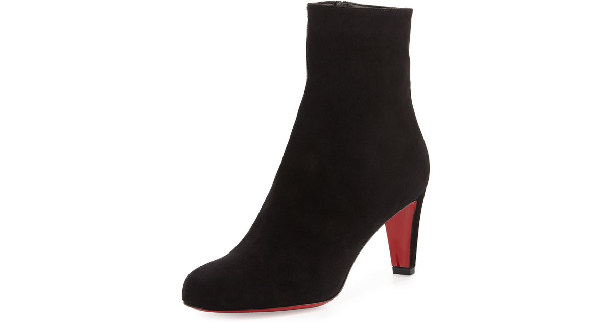 f586367ec046 ... uk lyst christian louboutin top 70 suede red sole ankle boot in black  45fe4 f3da2