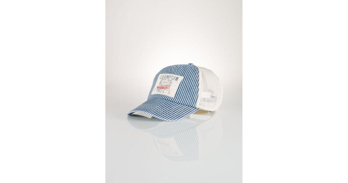 45bf19b87776a Lyst - Ralph Lauren Nautical Trucker Hat in Blue