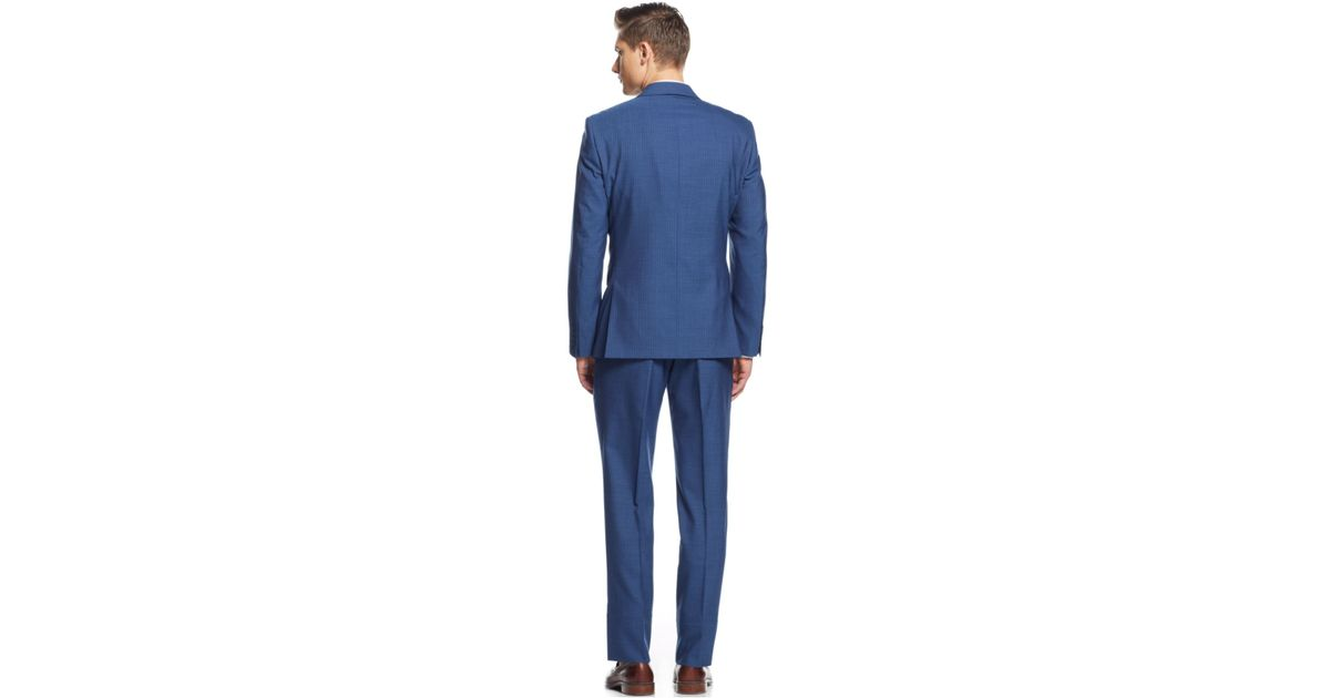 Calvin klein X Mid Blue Stripe Vested Extra-Slim-Fit Suit in Blue ...