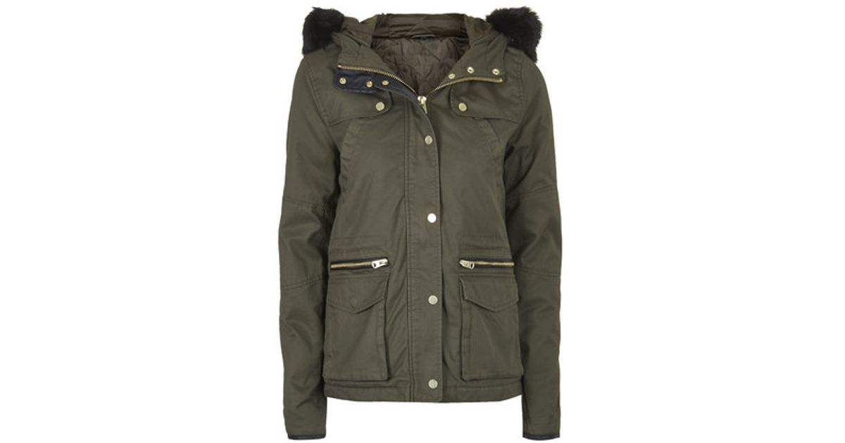 Topshop Short Padded Parka Jacket in Green | Lyst