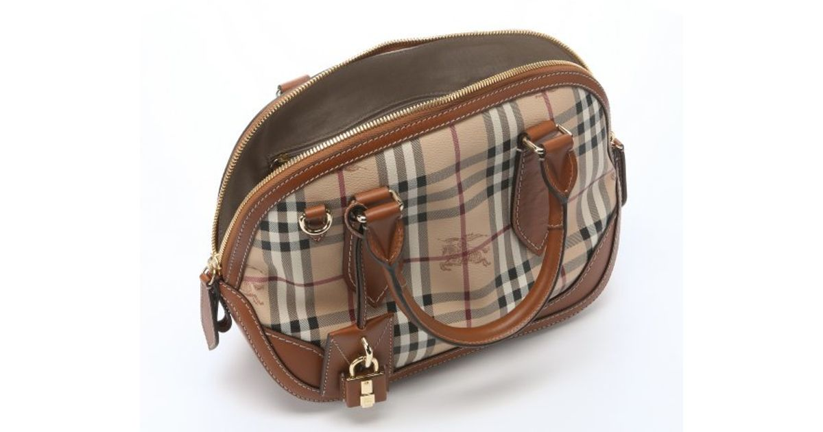 0a0e1b75cfe Lyst - Burberry Tan Check Canvas 'Orchard' Small Bowling Bag in Brown