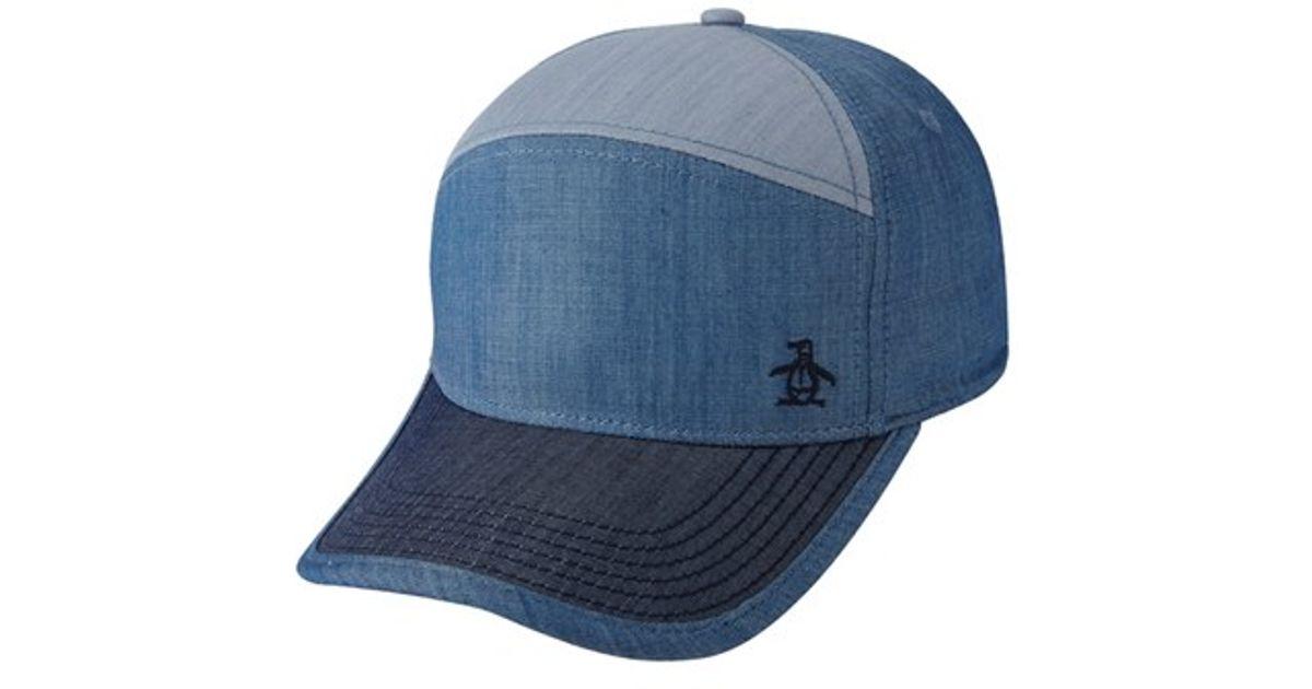 10e13c69e59 Lyst - Original Penguin Colorblock Chambray Baseball Cap in Blue for Men
