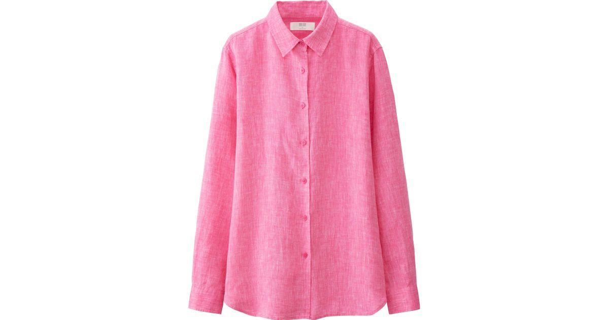 Uniqlo Women S Premium Linen Long Sleeve Button Front