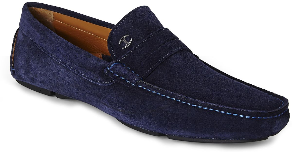 d08d55a3cad39 Just Cavalli Blue Suede Driving Shoes in Blue for Men - Lyst