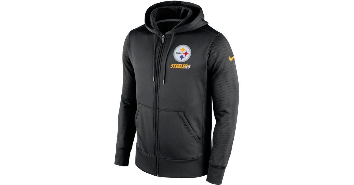 98fffb2be ... best price lyst nike mens pittsburgh steelers sideline ko fleece full  zip hoodie in black for