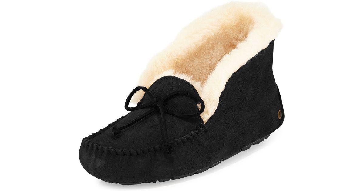 5e9500d8e13 UGG Black Alena Collared Moccasin Slippers