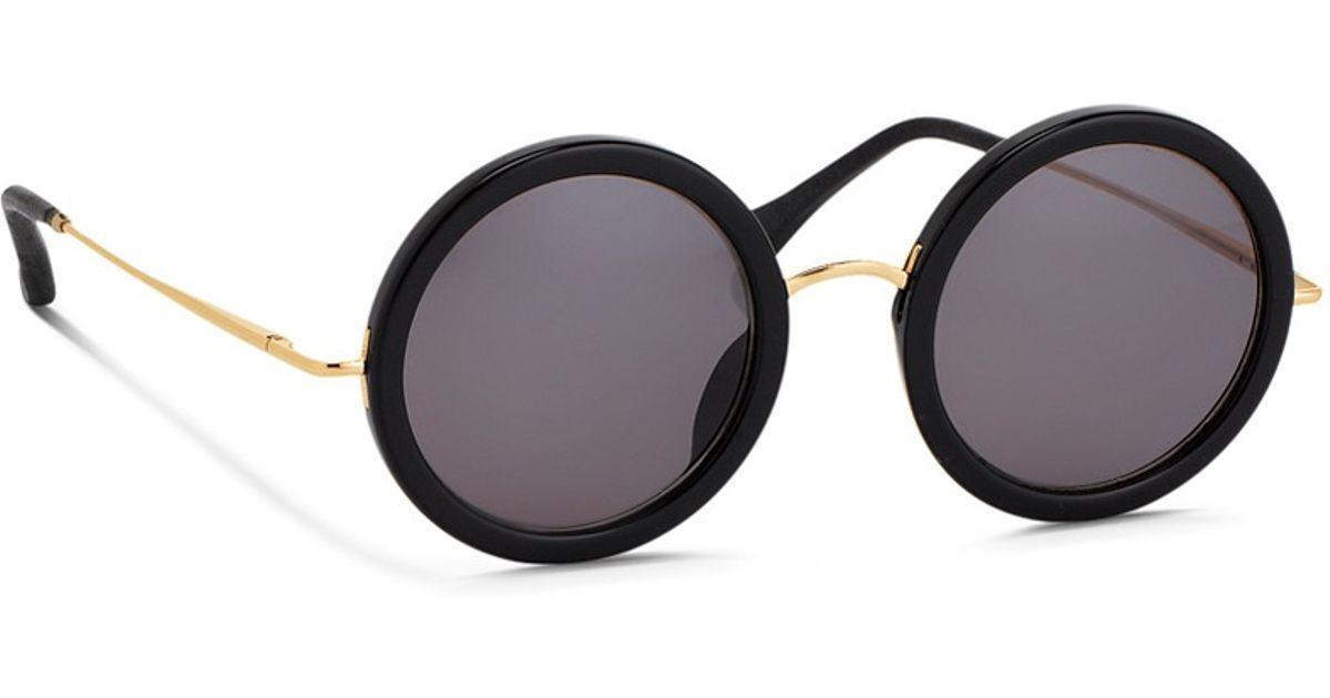 2a20f84a7e Lyst - The Row X Linda Farrow Wire Temple Round Acetate Sunglasses in Black