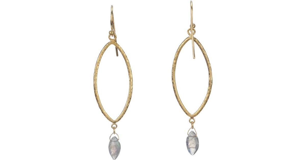 Gurhan 24k Willow Bloom Linear Drop Earrings w/ Topaz kEER8