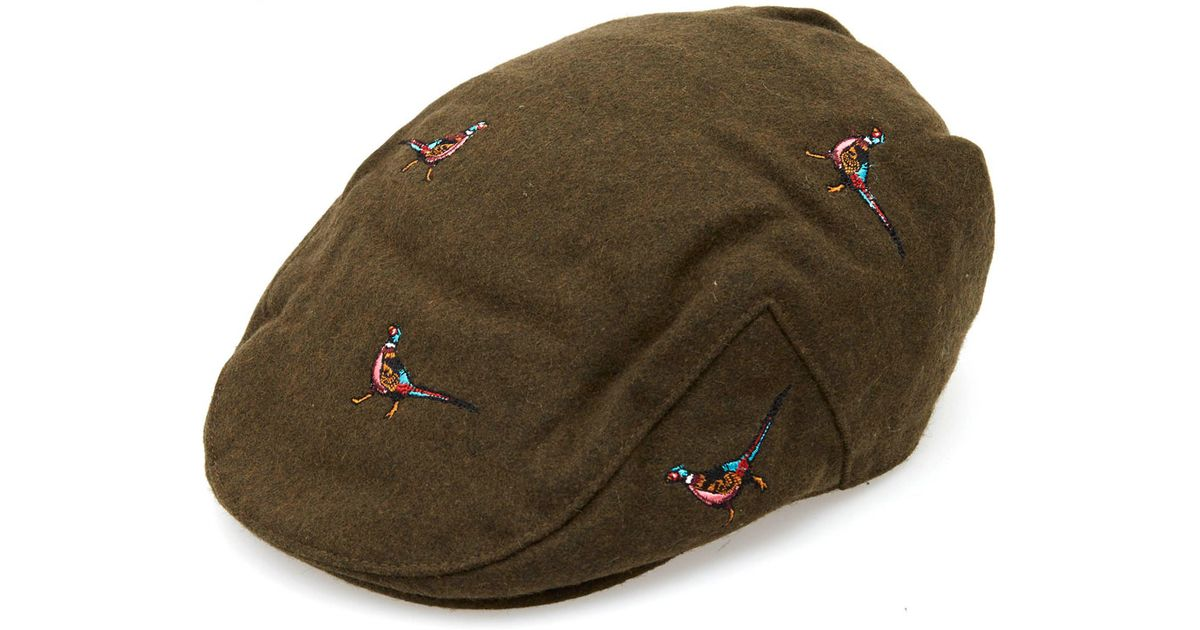 f2e312df583 Barbour Olive Pheasant Flat Cap in Green for Men - Lyst