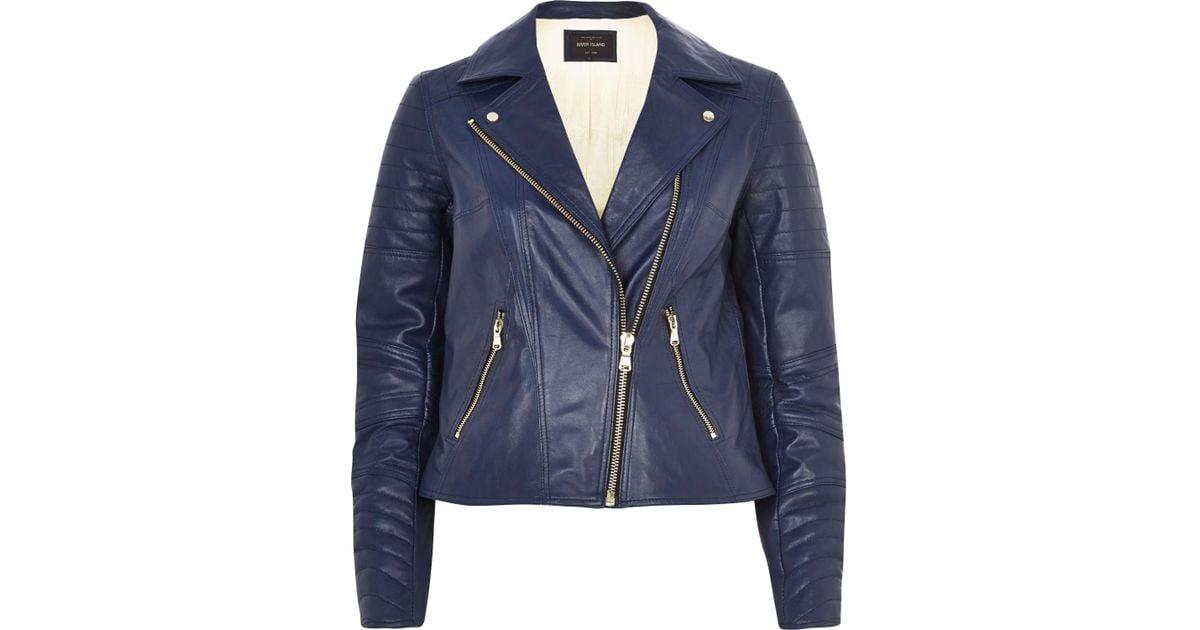 1e10c4cd8a4 River Island Navy Leather Biker Jacket in Blue for Men - Lyst