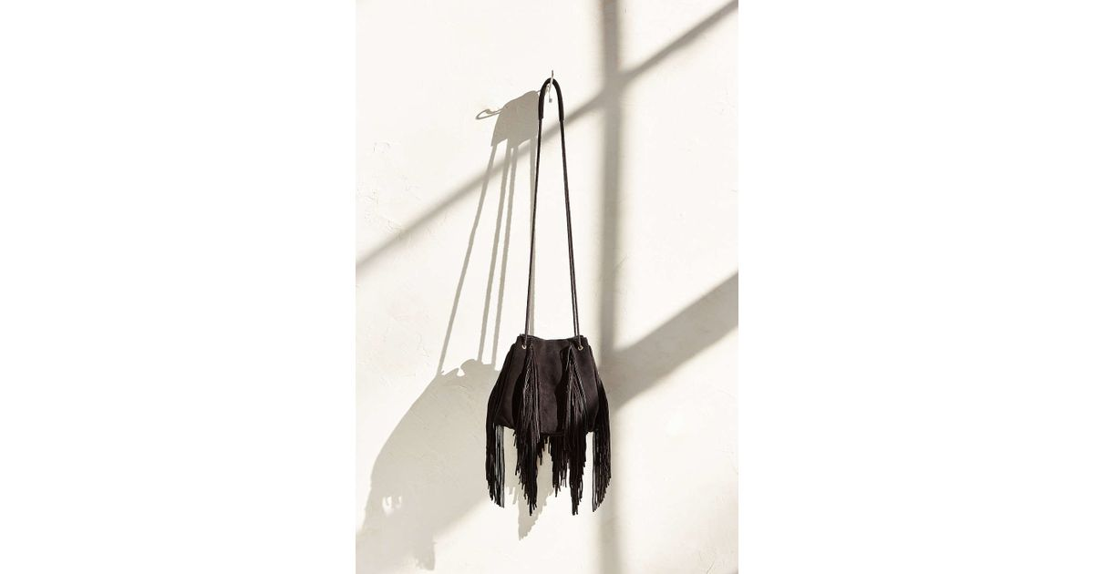 14bc366763 Lyst - Ecote Fringe Bucket Bag in Black