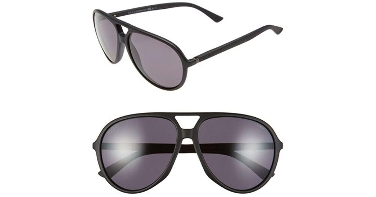 2b85802037 Lyst - Gucci 61mm Polarized Aviator Sunglasses - Shiny Black  Dark Grey in  Black for Men