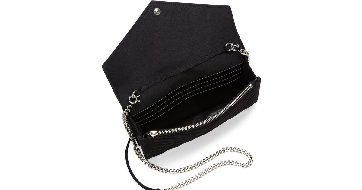 5aed2286a223 Lyst - Saint Laurent Monogram Small Matelasse Silk Chain Wallet in Black