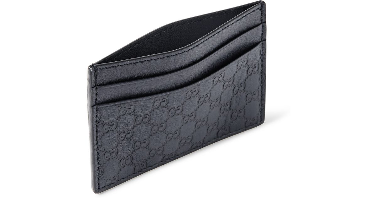 9f413e3fd1da Gucci Embossed Leather Cardholder in Blue for Men - Lyst