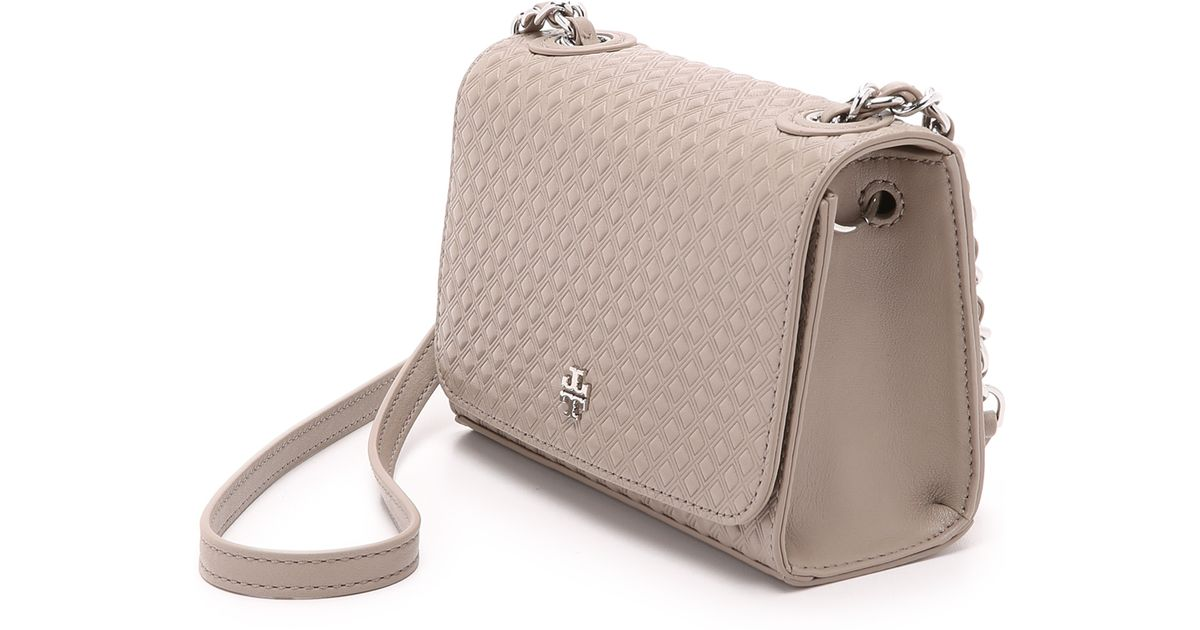 99a1debf1f0 usa lyst tory burch marion embossed shrunken bag french grey in gray b443a  57412