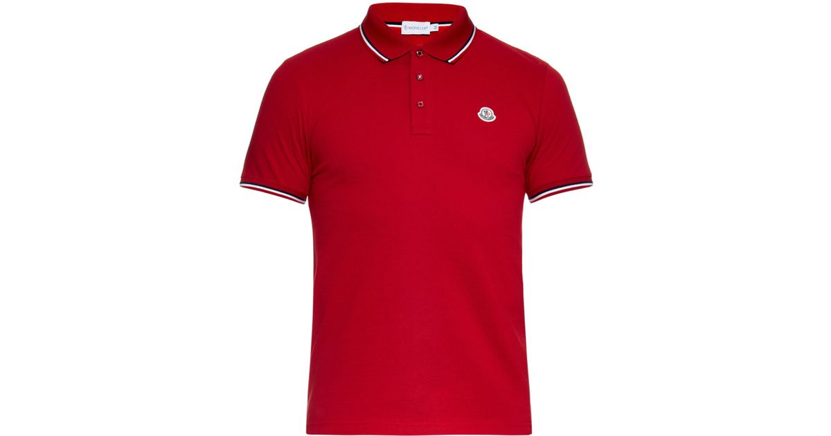 1fcea710955c Moncler Striped-Trim Cotton Polo Shirt in Red for Men - Lyst