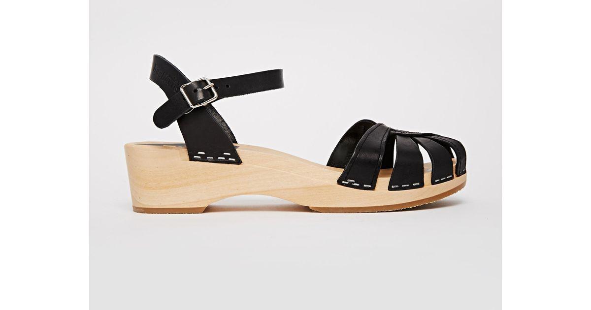 173a095cba1 Swedish Hasbeens Cross Strap Debutant Black Mid Heel Sandals