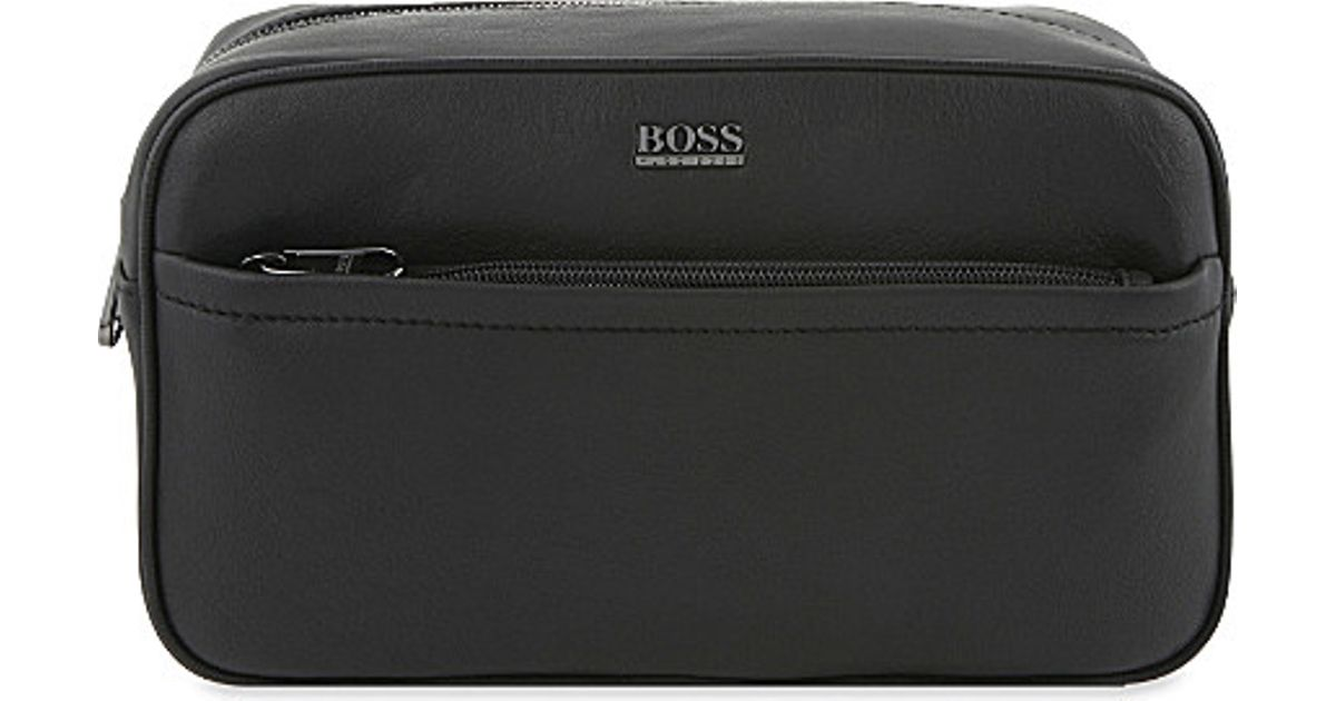BOSS Monte Leather Wash Bag 14d03b2b7ebd1