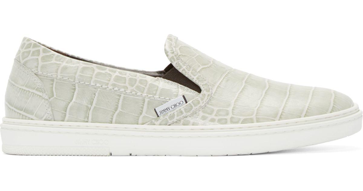 Jimmy Choo Leather Grey Shiny Croc Slip