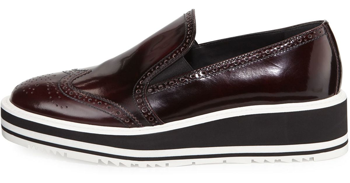 722a153577b2 Lyst - Prada Polished Leather Platform Loafers in Brown