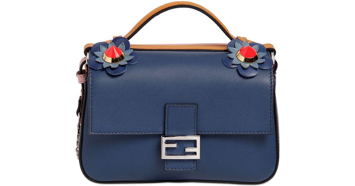 a06f69554775 ... switzerland fendi double micro baguette leather bag in blue lyst e6e2f  c3af7 ...