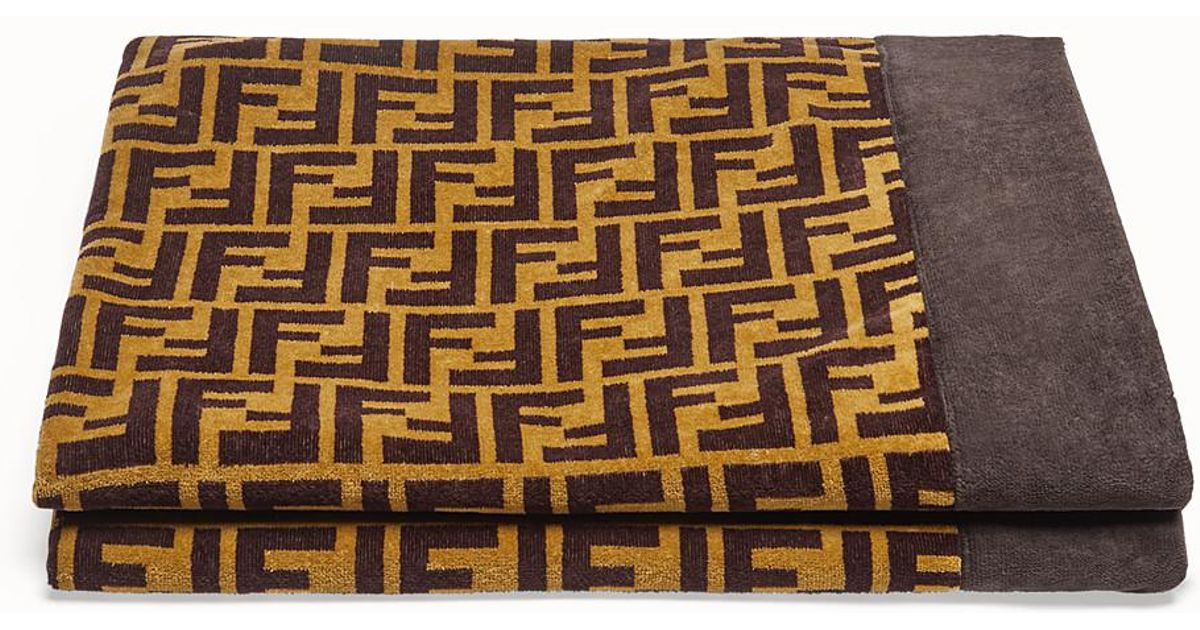 Fendi Cotton Beach Towel In Brown For