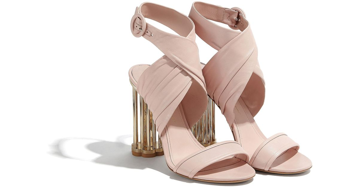 Lyst Ferragamo Criss Cross Sandal With Cage Flower Heel In Pink