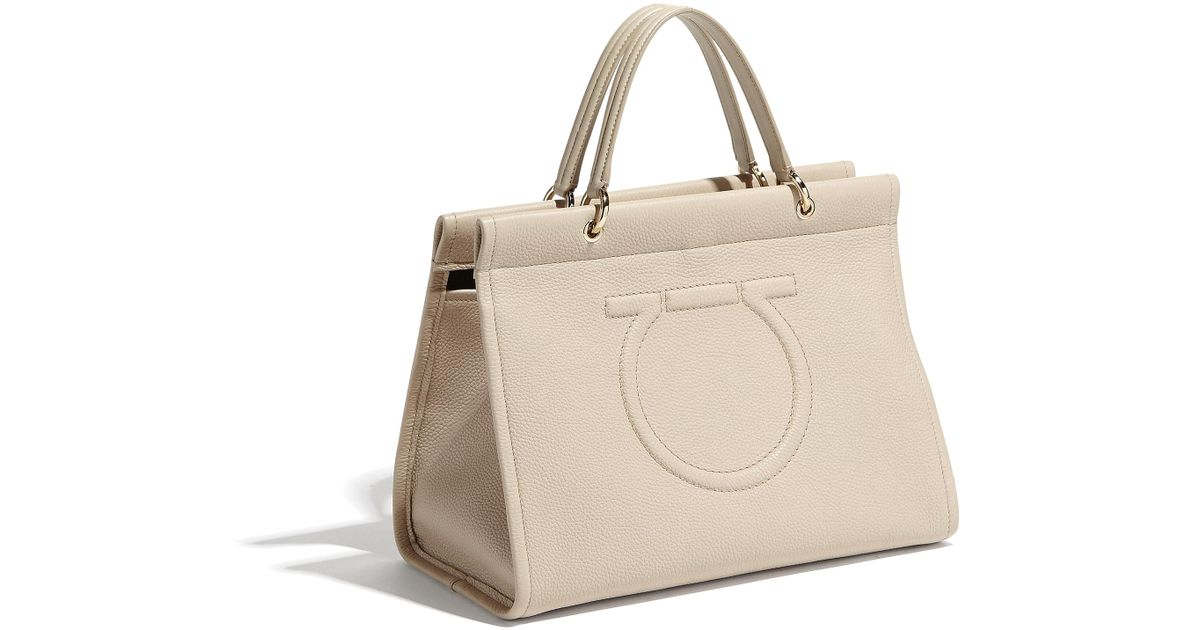 cd04b147226d Lyst - Ferragamo Double Handle Gancini Bag in Natural