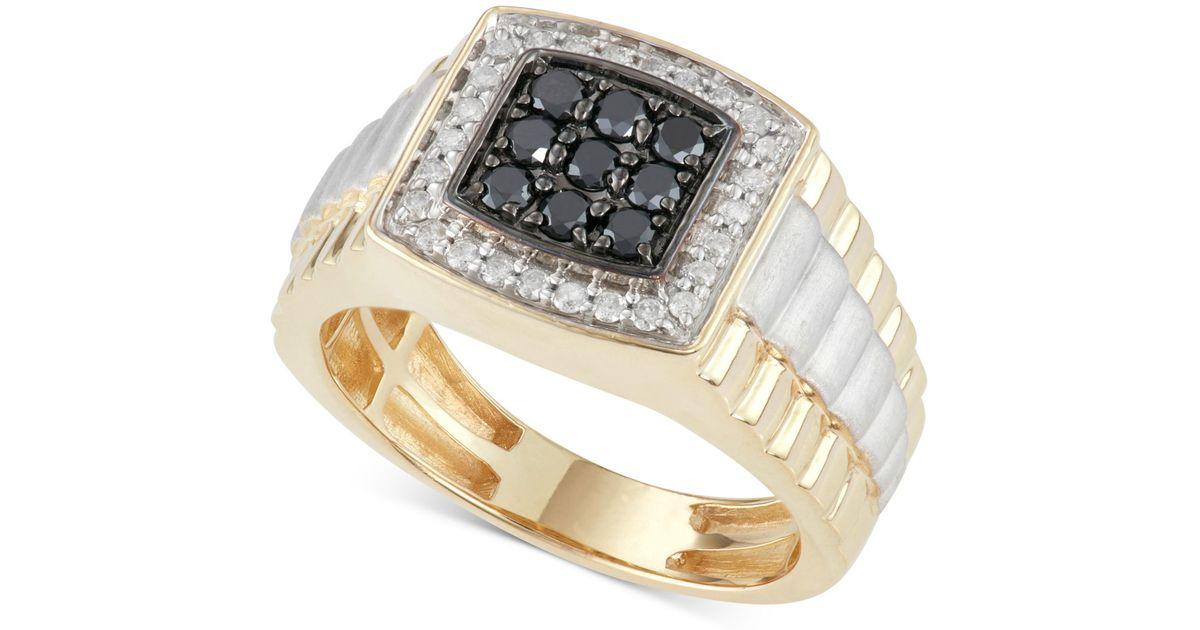 Macy s Men s Diamond And Black Diamond Ring 3 4 Ct T w In 10k Gol